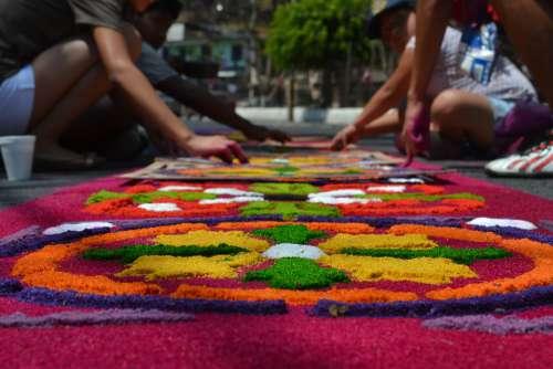 Holy Week Guatemala Kids Procession Handmade Hands