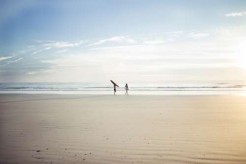 Horizon Sea Ocean Water Waves People Men Walking