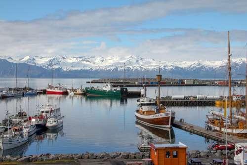 Husavik Iceland Port Boats Landscape Ship Sea
