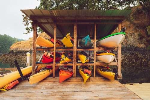 Kayaks Shed Stack Summer Canoeing Boat Lakeside