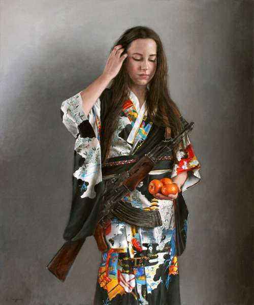 Kimono Rifle Gun Woman Tangerines Assaultrifle