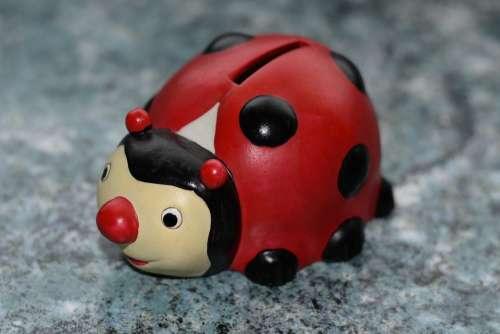 Ladybug Piggy Bank Money Finance Ceramic Coin