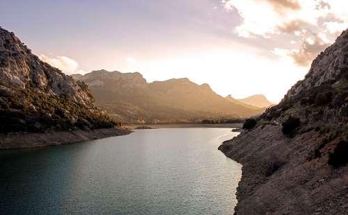 Lake Mountain Sunset Landscape Panorama Water