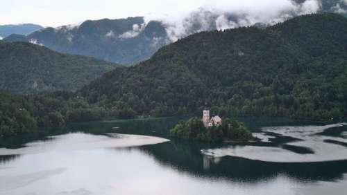 Lake Bled Church Slovenia Island Mountains Clouds