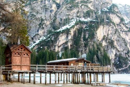 Lake Braies Nature Mountains Tourism