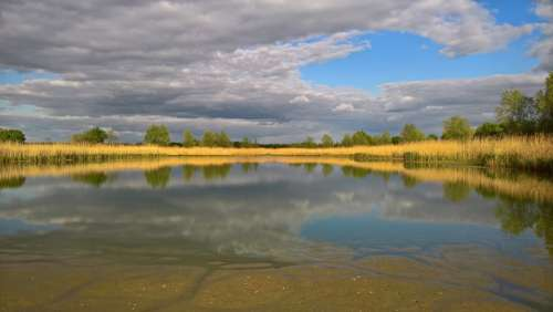 Lake Mirroring Water Landscape Mood Clouds