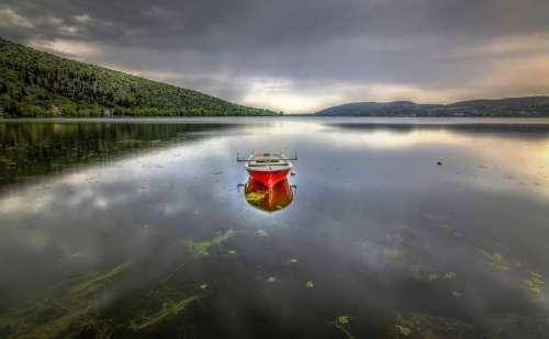 Lake Boat Red Sea Fishing Sky Landscape Summer