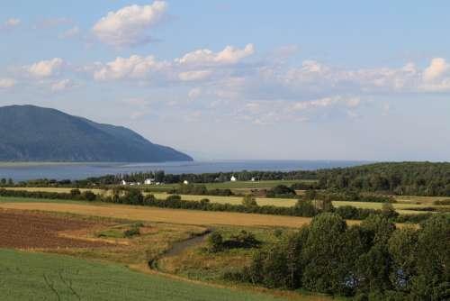 Landscape River Nature Québec Summer Sky Canada