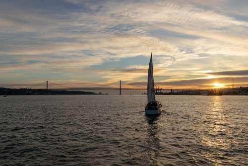 Lisbon Bridge Blue Sea Port Evening Sky Portugal
