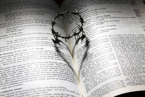 Love Died Cross Thorns Crown Heart Bible Shadow