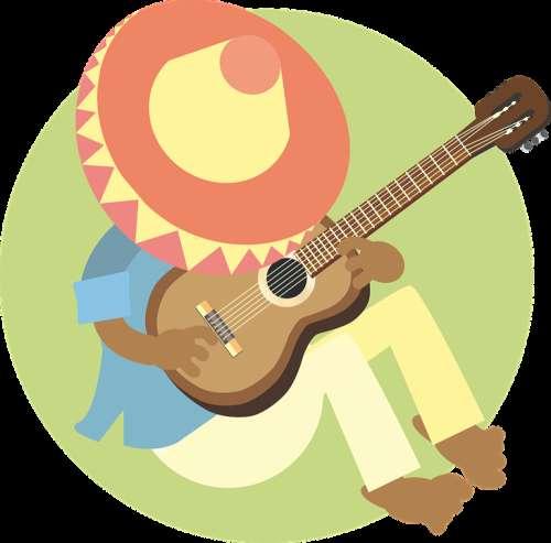Man Sleeping Mexican Guitar Music Sombrero