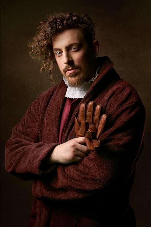 Man Retro Vintage Portrait Gloves Person Curly