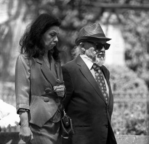 Man Old Going Together Hat Park Nature Glasses