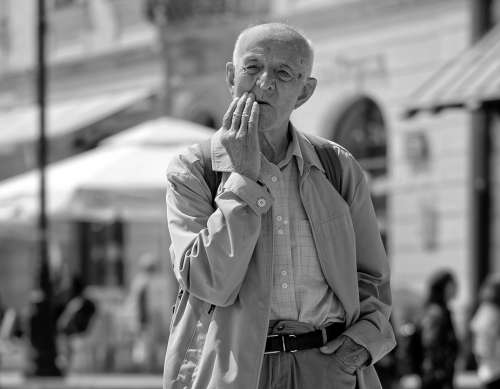 Man Old Confused Angry Thinker Street In The Age