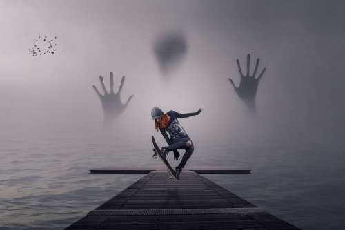 Manipulation Pier Ghost Skateboarder Lake Fog
