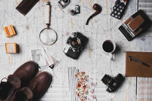 Map Microscope Coffee Camera Pen Notebook Shoes