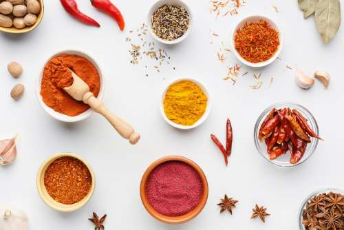 Masala Ingredients Spices Turmeric Chilli Table