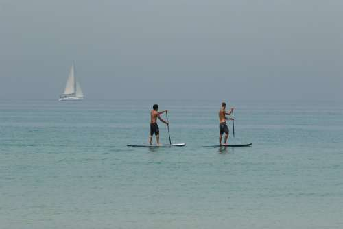 Men Sea Boat Sup Surfing Heat Wave