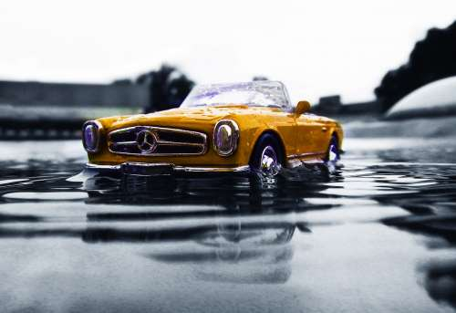 Mercedes Benz Yellow Vintage Vehicle Traffic