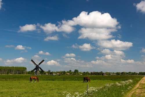 Mill Landscape Wind Mill Heaven Clouds Altena