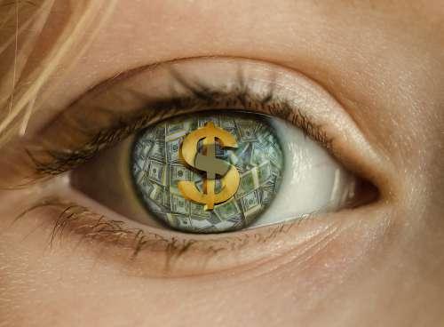 Money Eye Dollar Greed Rich Cash Wealth Stacks