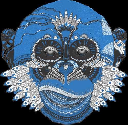 Monkey Face Plumage Ornament Animal Blue