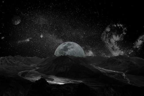Moon Universe Space Milky Way Galaxy Planet