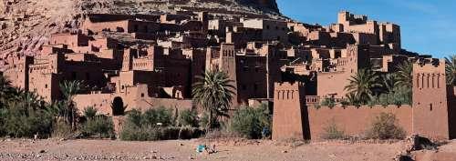 Morocco Kasbah Desert Berber Sky Red Blue Sand