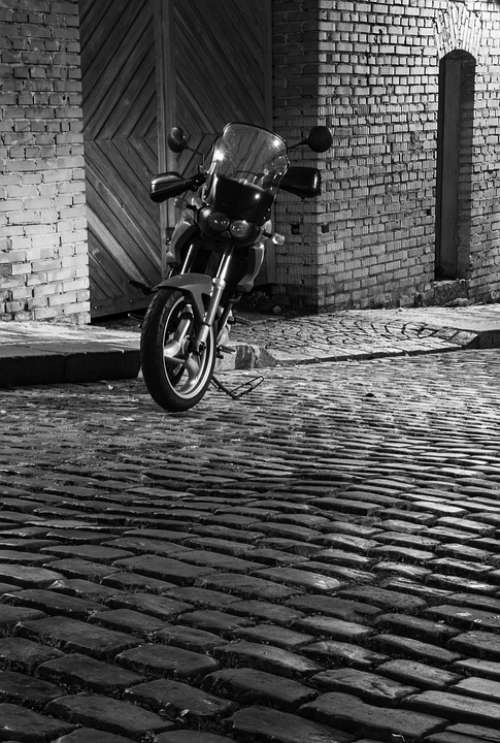 Motorbike Monochrome City Black Vehicle