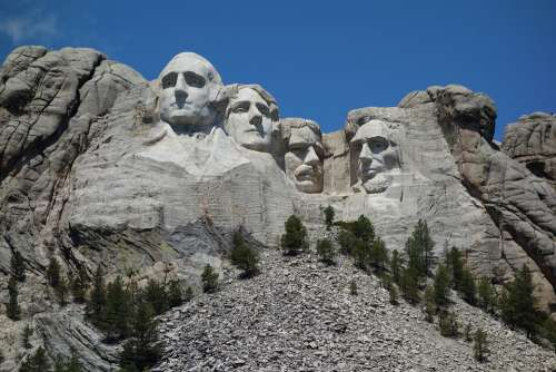 Mount Rushmore Usa Sculpture Presidents Blue Sky