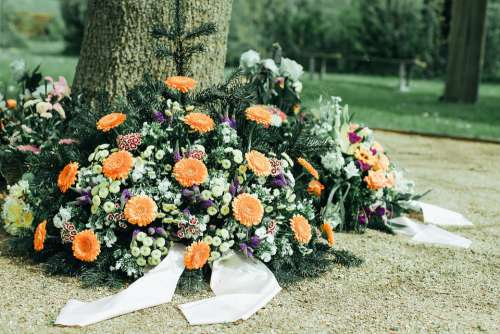 Mourning Arrangement Flowers Commemorate Cemetery