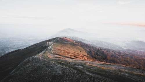 Nature Landscape Mountains Sunset Hills Fog