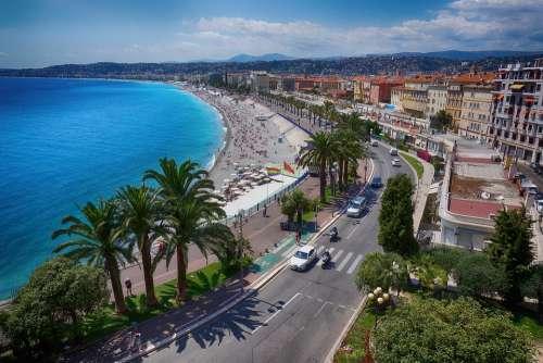 Nice Sea City Coast Vacations Palm Trees Tourism