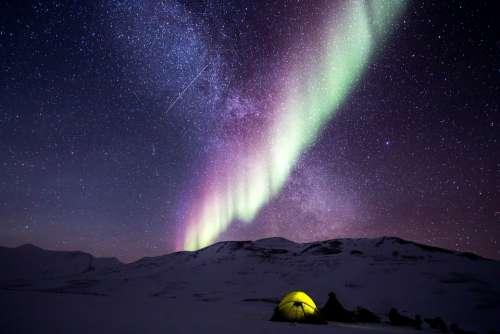 Night Aurora Snow North Pole Nature Polar Lights