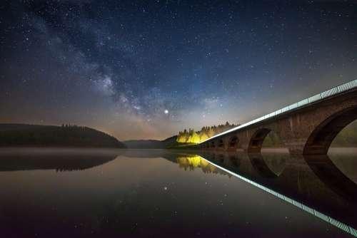 Night Lake Water Sky Landscape Nature Star