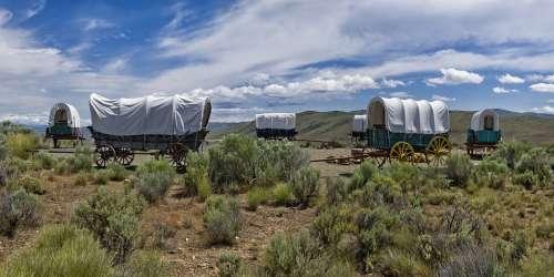 Oregon Trail Covered Wagon Prairie Panorama