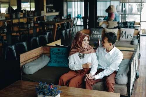 Pair Romantic Couple Prewedding Happy Cafe Smile