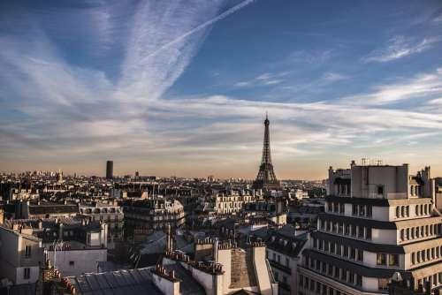Paris Eiffel Tower Roof Sky France Landscape