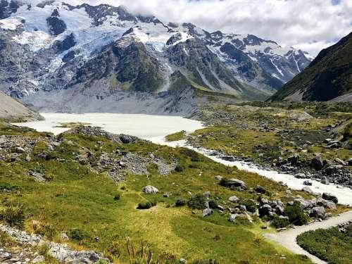 Park Landscape Mountains Zealand Mountain Glacier