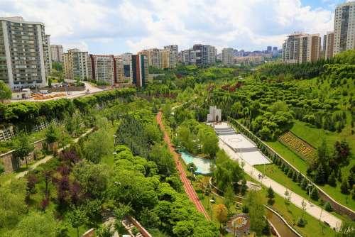 Park Landscape Green City Buildings Architecture