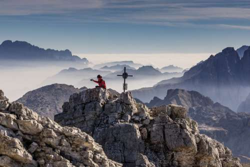 Photographer Peaks Mountains Tops Cross Smartphone