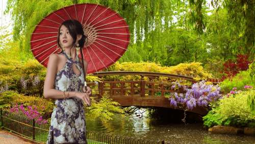 Photomontage Woman Asian Nature Culture Call Girl