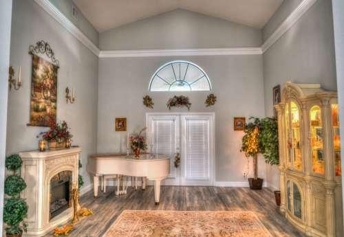 Piano Room Interior Design Fireplace White Domestic