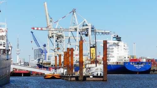 Port Hamburg Cranes Harbour Cranes Maritime
