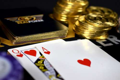 Queen And Ace Bitcoin Poker Cards Queen Ace Hearts