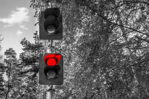 Railway Traffic Red Forbidding Signal Closed