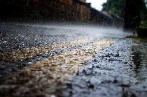 Rain Raindrops Seasons Water Macro Road Way