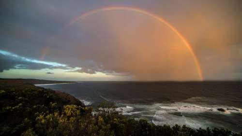 Rainbow Coast Sunset Beach Sky Sea Ocean Travel