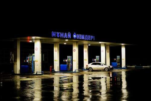 Refueling Car Rain Auto Oil Station Fuel Petrol
