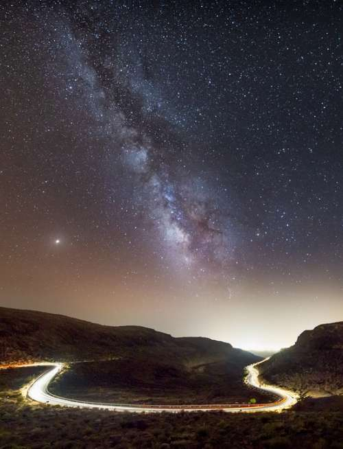 Road Night Star Milky Way Light Away View
